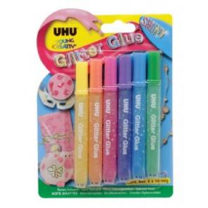 UHU Glitter Glue Shiny 6 x 10 ml