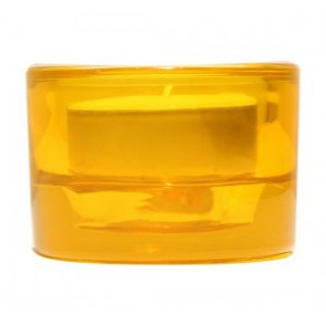 Svícen sklo 57x83 žlutý na mal./velkou čajovou svíčku
