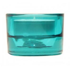 Svícen sklo 57x83 tyrkysový na mal./velkou čajovou svíčku