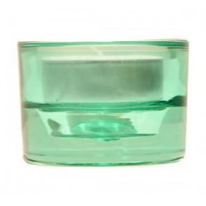 Svícen sklo 57x83 zelenomodrý na mal./velkou čajovou svíčku