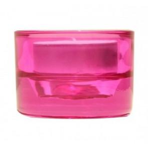 Svícen sklo 57x83 růžový na mal./velkou čajovou svíčku